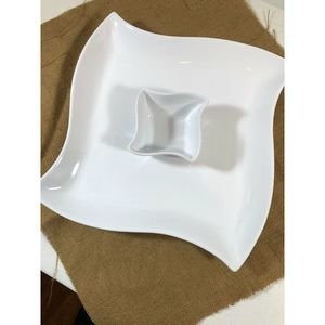 Pottery Barn White Chip And Dip